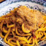 ロットチェント_黄色いイワシのソース極太麺